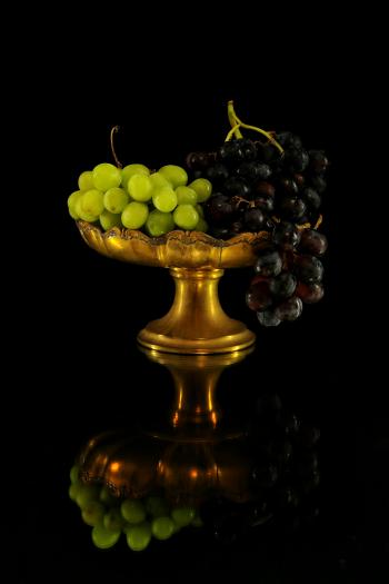Grapes on Brass Footed Bowl