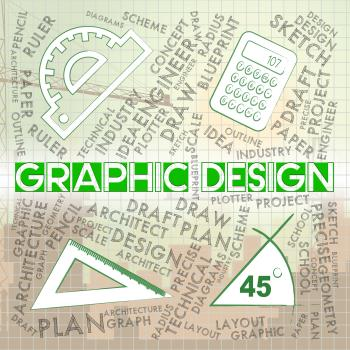 Graphic Design Represents Creative Illustrator And Designs