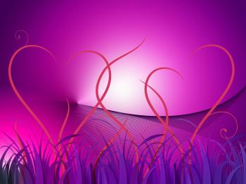 Grass Heart Background Shows Romantic Landscape Or Wallpaper