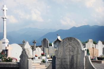 Graveyard and mountains