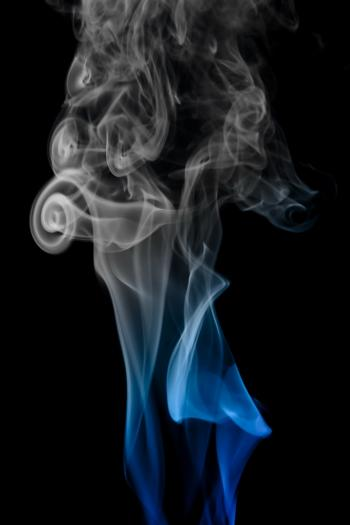 Gray and blue smoke