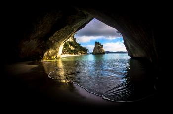 Gray and Brown Cave Near on the Ocean