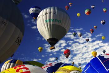 Gray and White Hot Air Balloon