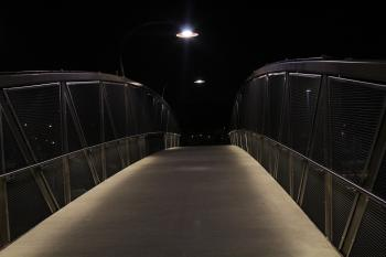 Gray Beige Bridge during Night Time