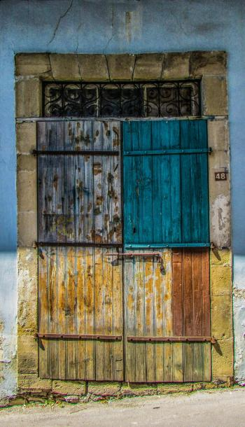 Gray Blue and Brown Door