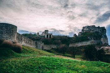 Gray Castle Under Cloudy Sky