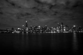 Gray Scale of City Skyline Photography