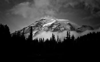 Grayscale Photo Of A Mountain Covered With Snow