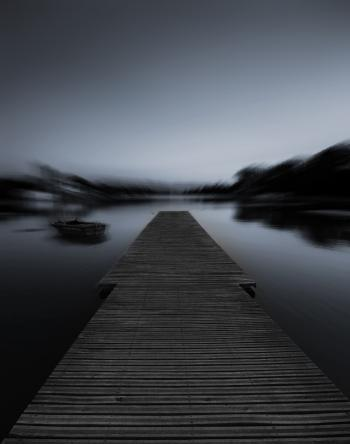 Grayscale Photo of Dock