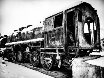 Grayscale Photo of Train