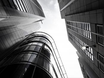 Grayscale Photograph of Buildings