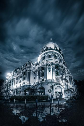 Grayscale Photography of a Mansion