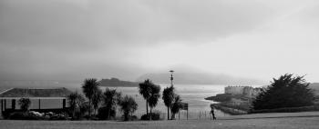 Grayscale Photography of Building Near Body of Water