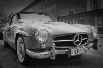 Grayscale Photography of Classic Mercedes Benz Car