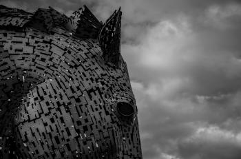 Grayscale Photography of Horse Head and Clouds