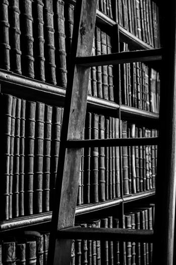 Grayscale Photography of Ladder Near Bookshelf
