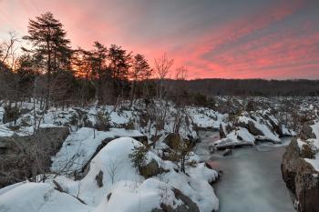 Great Falls Winter Twilight - HDR