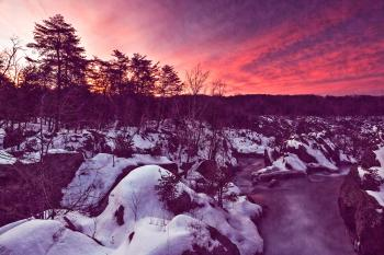 Great Falls Winter Twilight - Violet Velvet Fantasy