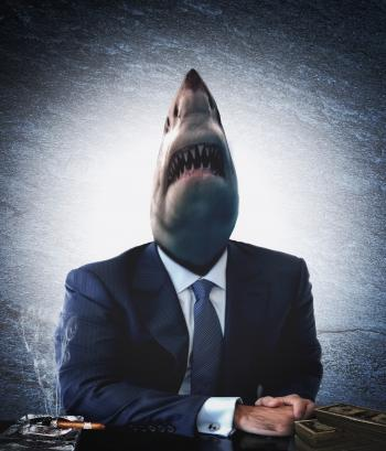 Greedy businessman as a shark