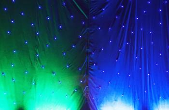 Green and blue decoration with lights