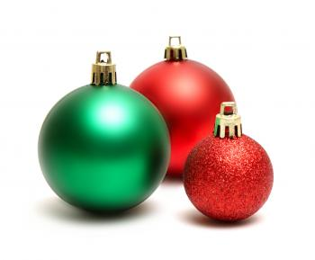 Green and red Christmas ornaments