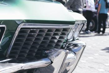 Green and Silver Car Grille in Tilt Shift Lens