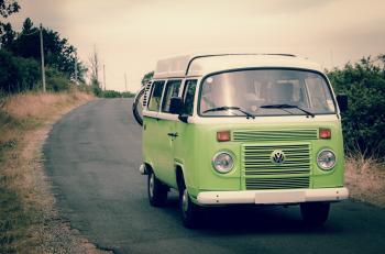 Green and White Volkswagen Combi