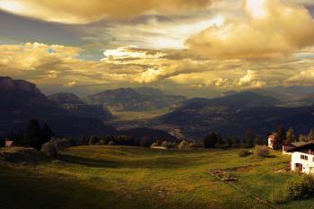 Green Grass Field over Horizon