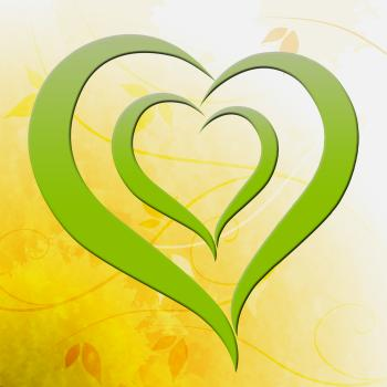 Green Heart Shows Environmental Care Or Eco Friendly