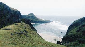 Green Mountain Ruins Near Seashore