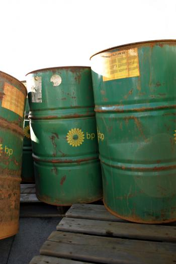 Green oil barrels