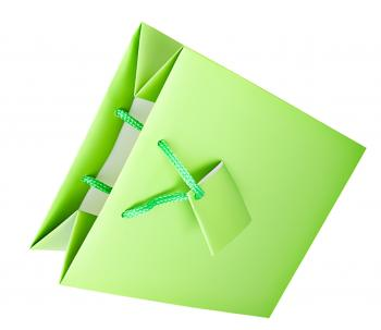 Green paper gift bag