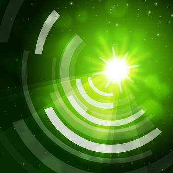 Green Sun Background Means Giving Offf Frequencies
