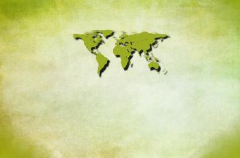Green world map with copyspace