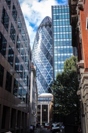 Grey and Blue Glass Bullet Tower
