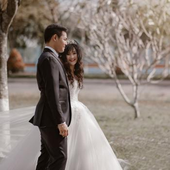 Groom and Bride Closeup Photo