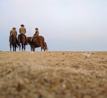 Group of Horsemen on Desert