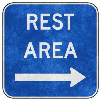Grunge Road Sign - Rest Area