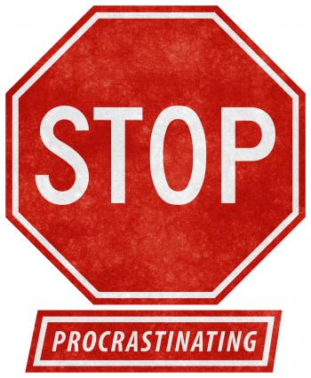 Grunge Road Sign - Stop Procrastinating