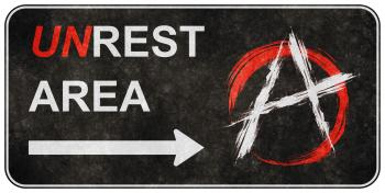 Grunge Road Sign - Unrest Area