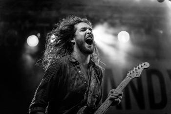 Guitarist of Greyscale Photo