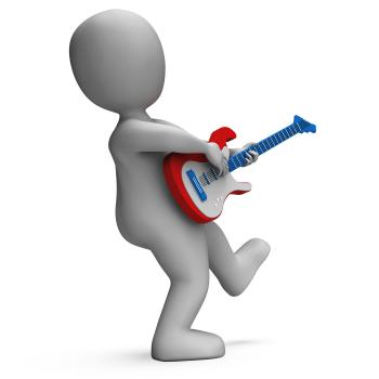 Guitarist Shows Rock Music Guitar Playing And Character