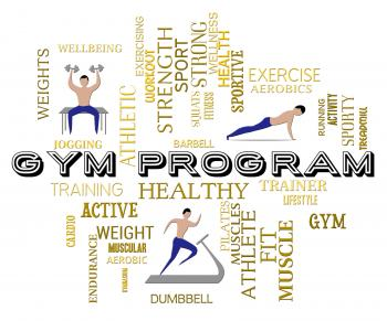 Gym Program Represents Fitness Center And Athletic