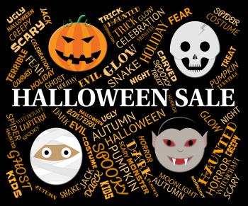 Halloween Sale Represents Trick Or Treat And Celebration