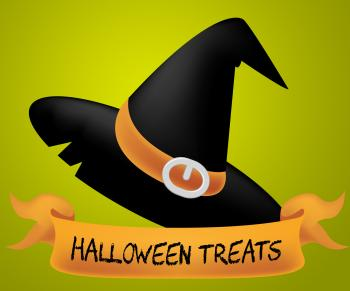 Halloween Treats Indicates Candies Horror And Ghost