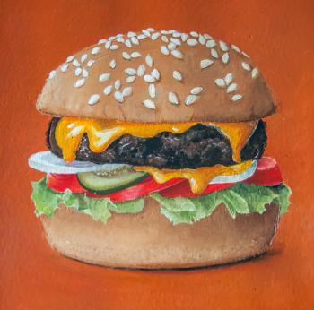Hamburger painting illustration