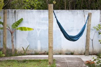 Hammock on wooden posts