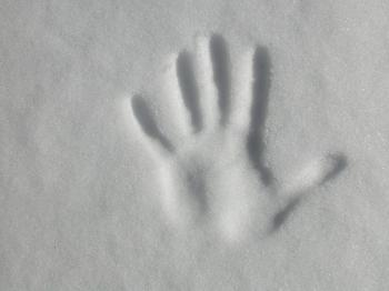 Hand print in the snow
