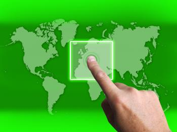 Hand Touch Touchscreen On World Map Shows Internet Web