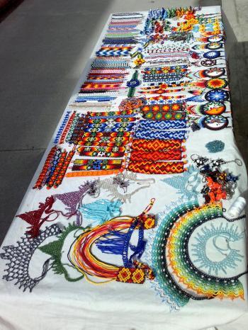 handmade crafts in a street market